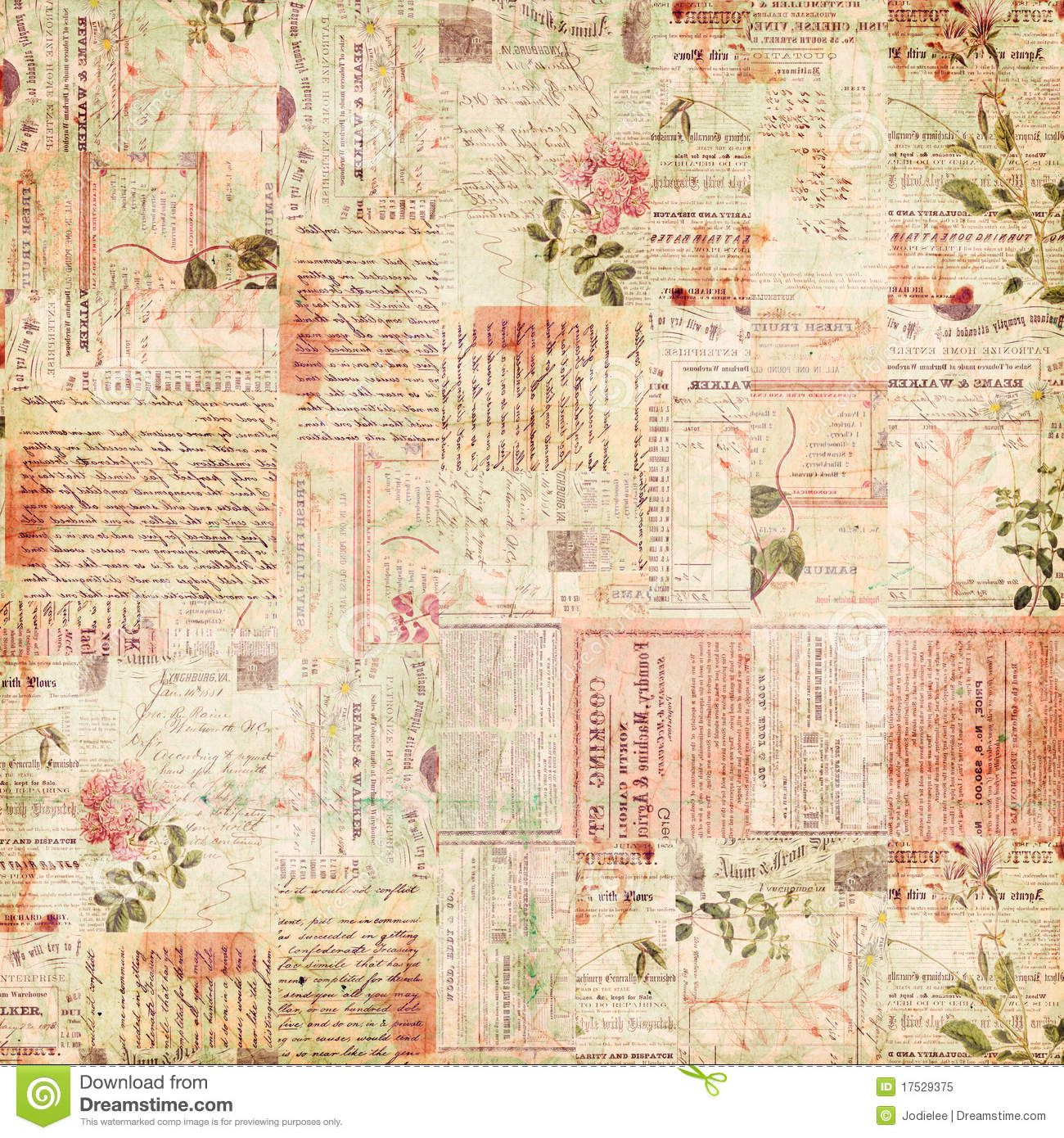Vintage paper ephemera, text and flowers collage
