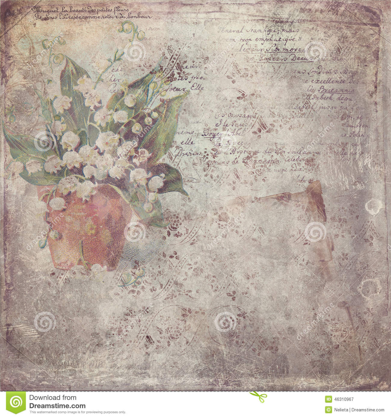 Vintage paper with flower