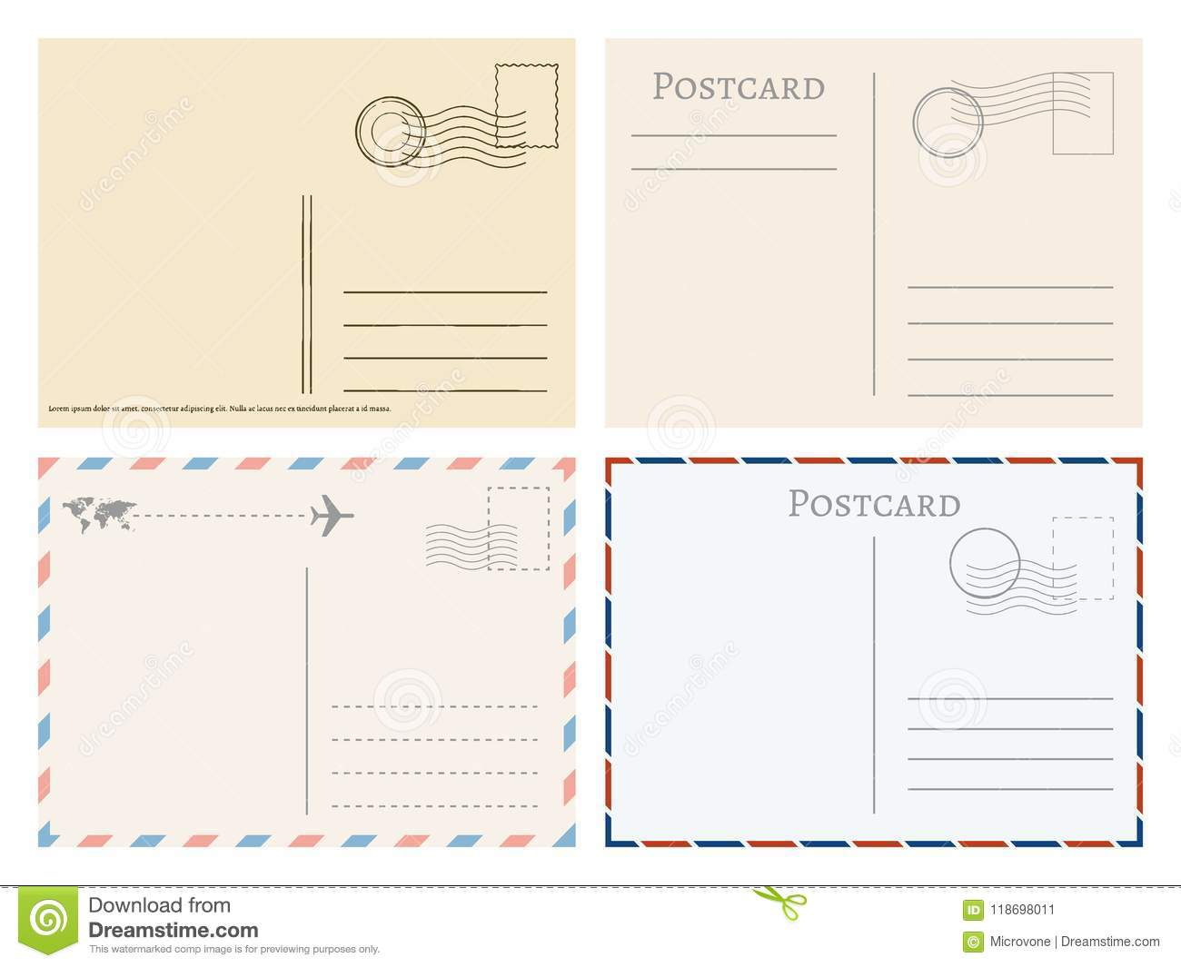 vintage paper postal cards greetings from postcard vector template