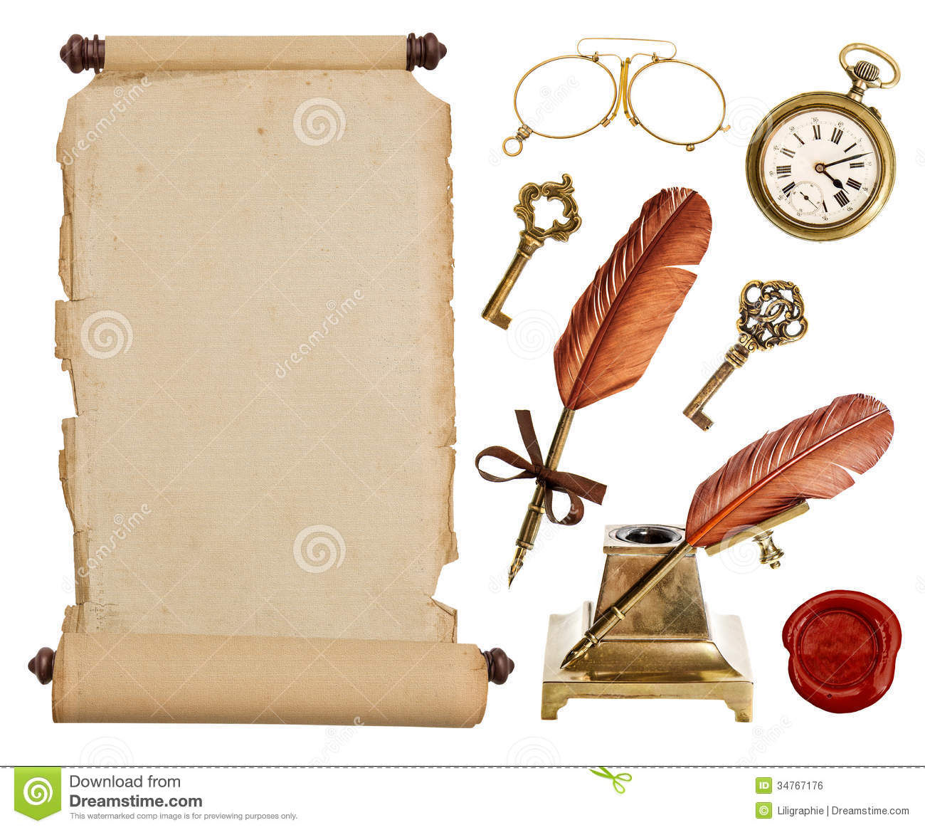 Antique Scrollimgs: Vintage Paper Scroll And Antique Accessories Stock Photo