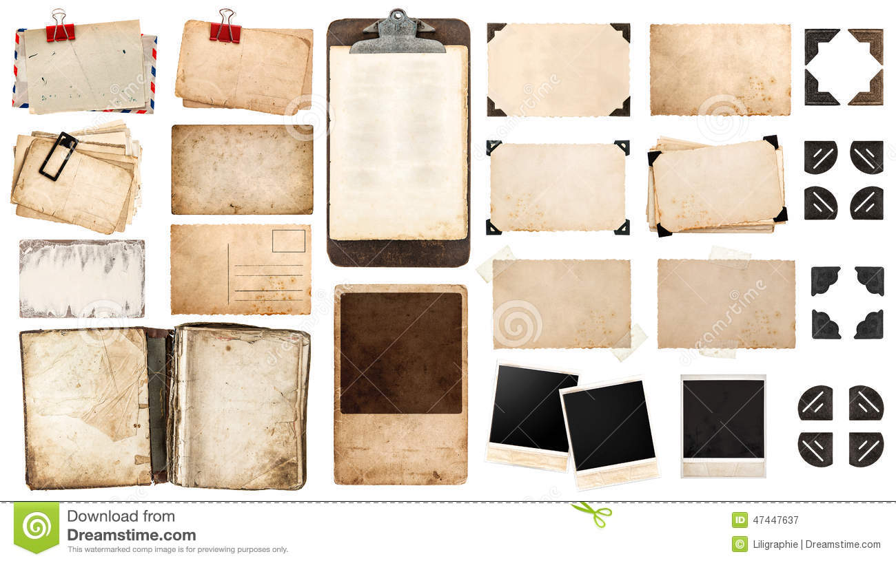 vintage paper sheets, book, old photo frames and corners, antique clipboard