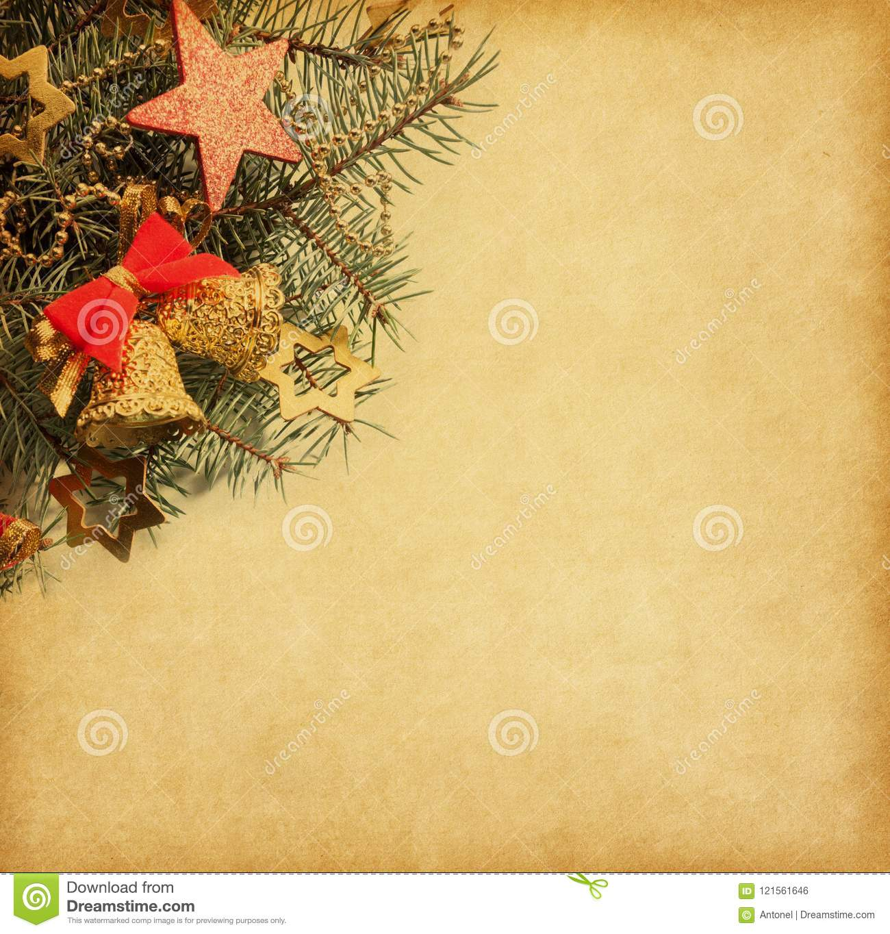 Vintage Paper With Spruce Branch Adorned With Christmas Decorations