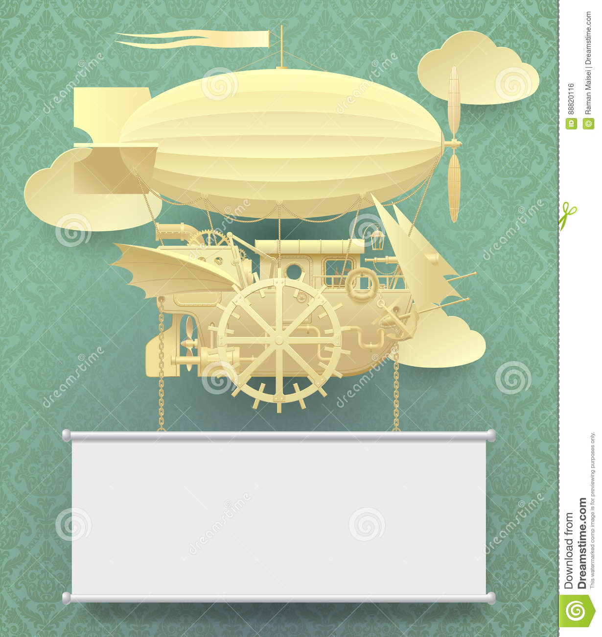 vintage paper steampunk template with a complex fantastic flying
