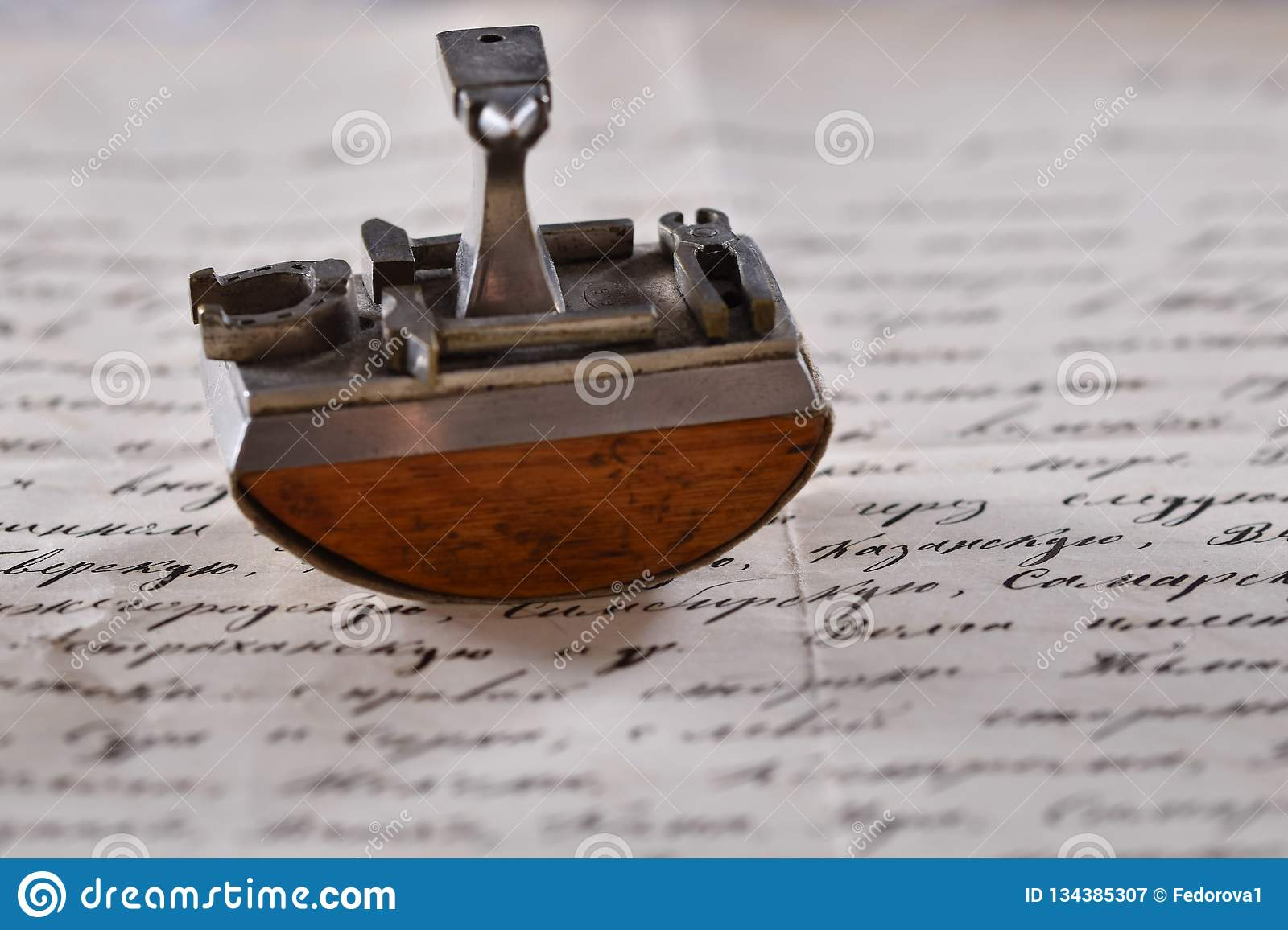 Vintage paperweight on the love letter
