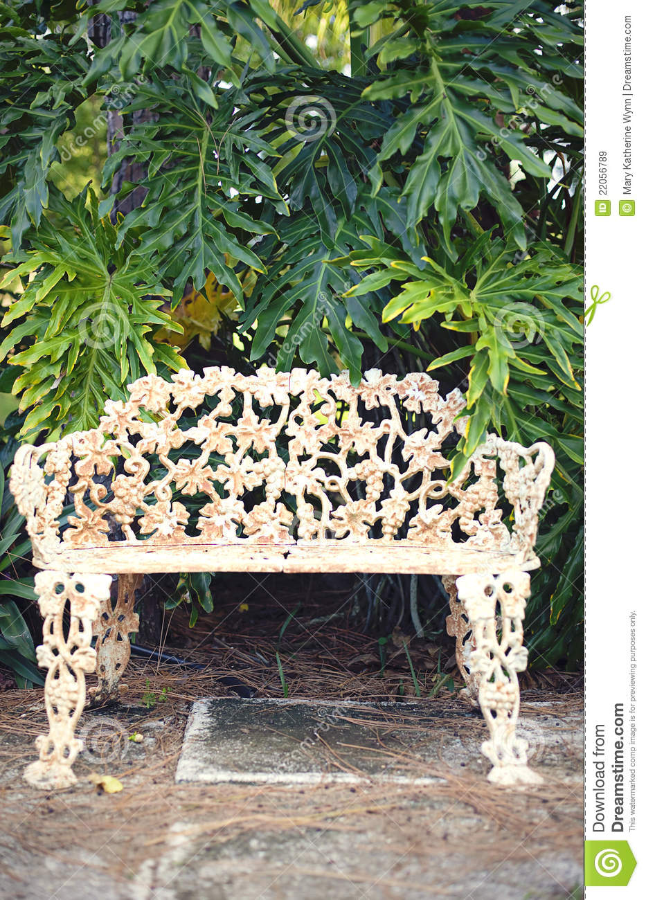 Vintage Park Bench Stock Image Image Of Metal Background