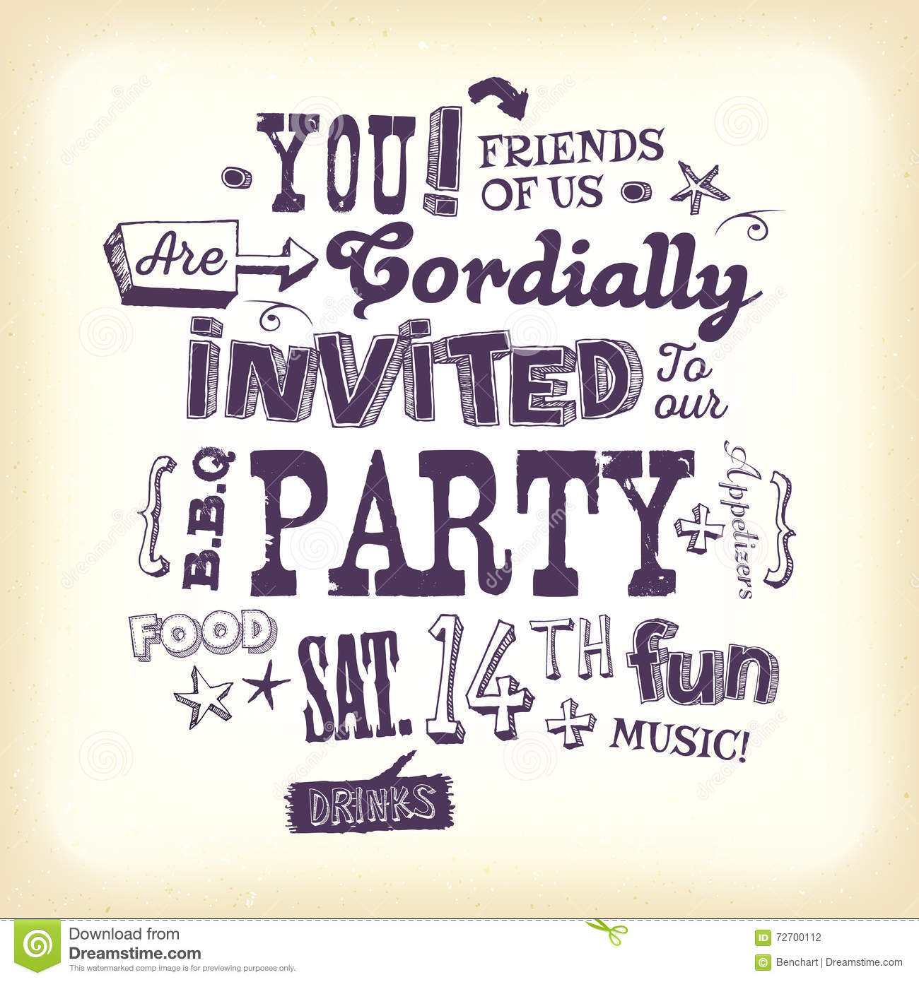 Vintage Party Invitation Poster With Hand Lettering Stock