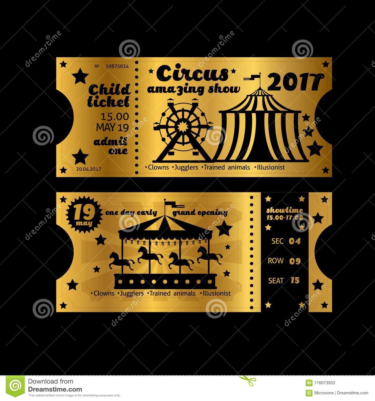 vintage party invitation retro circus carnival ticket template