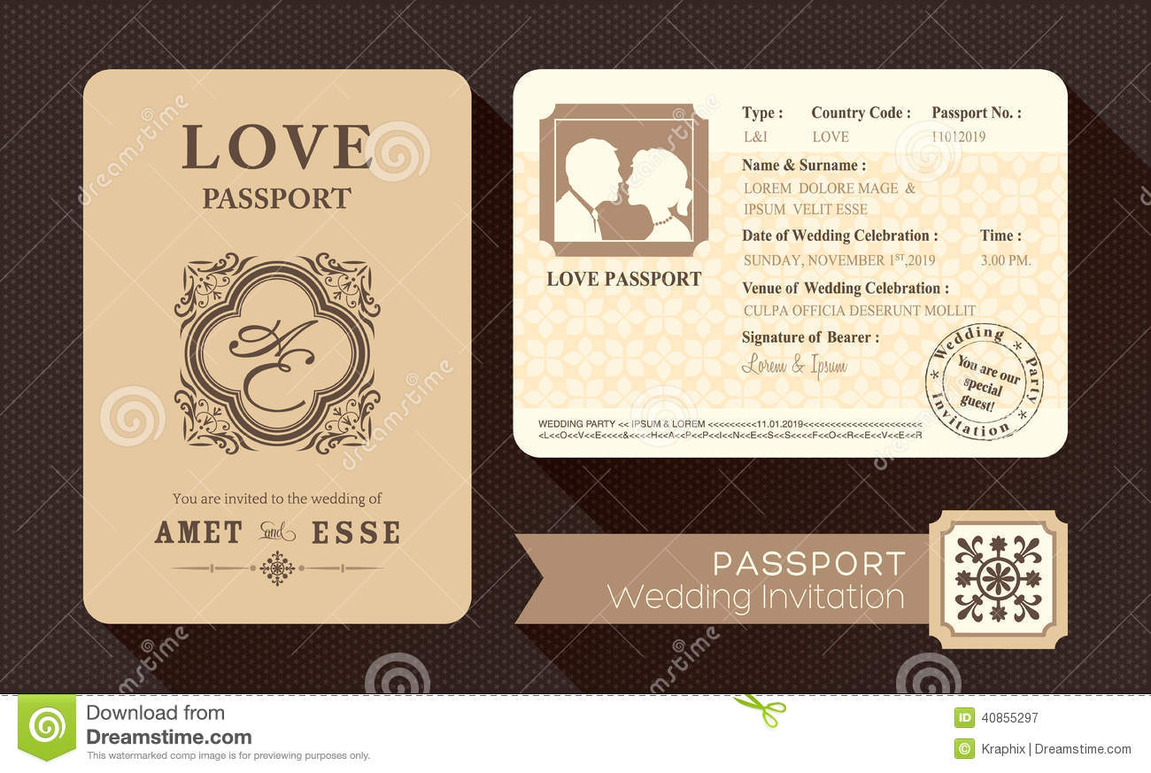 passport wedding program template - royalty free stock photography vintage passport wedding