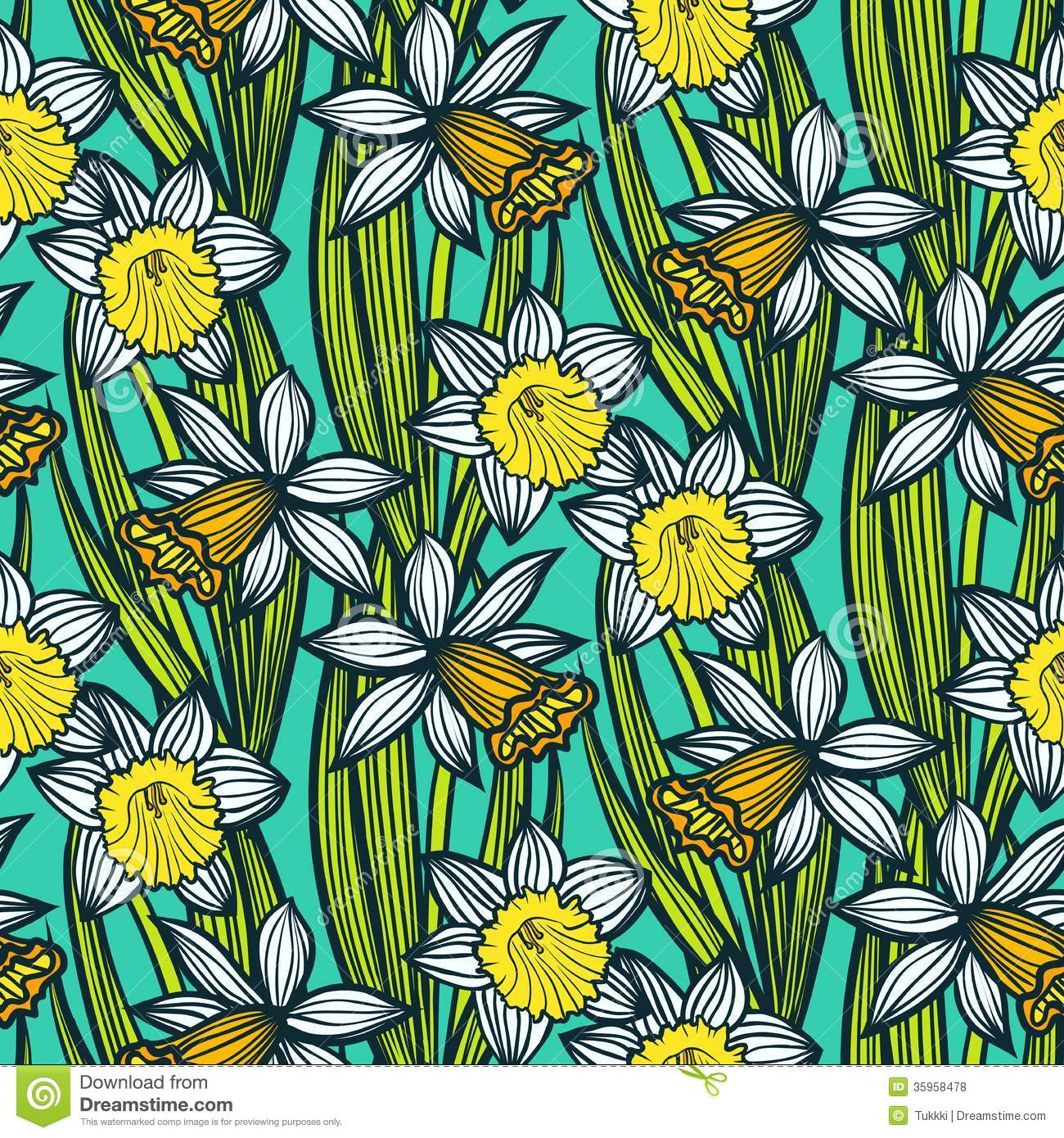 Vintage Pattern With Daffodils Or Narcissus. Royalty Free ...