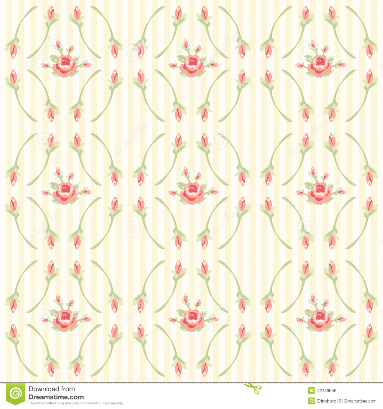Vintage Floral Pattern With Roses In Shabby Chic Style On Striped Background