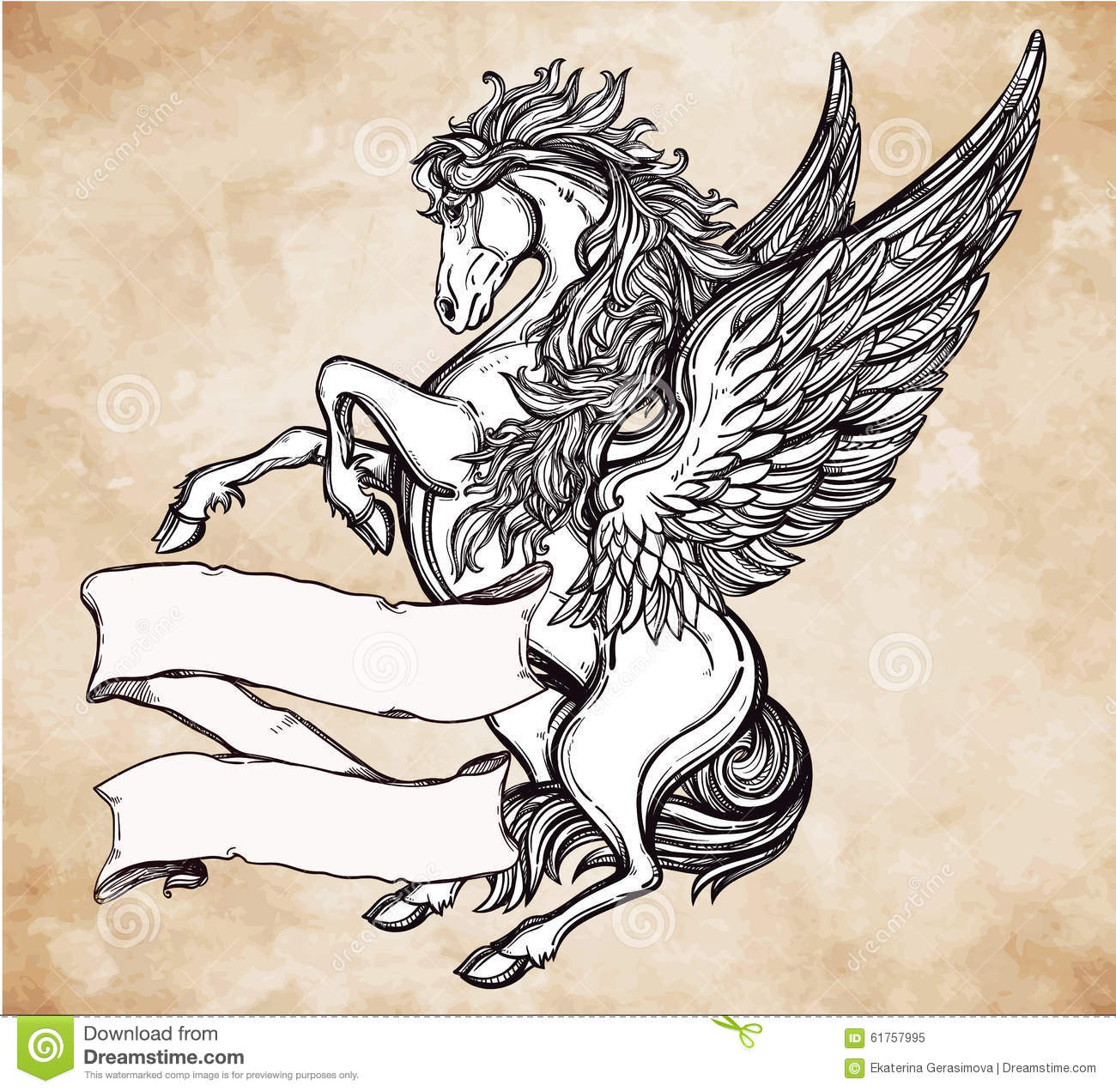 vintage pegasus with scroll for your text stock vector illustration of emblem hand 61757995. Black Bedroom Furniture Sets. Home Design Ideas