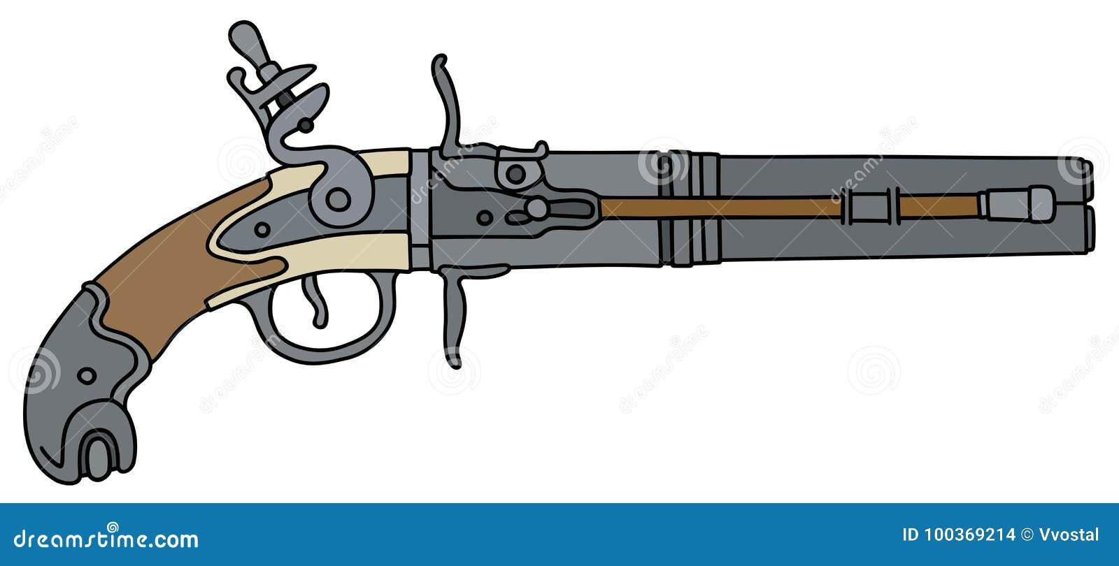 Vintage percussion handgun stock vector  Illustration of drawing