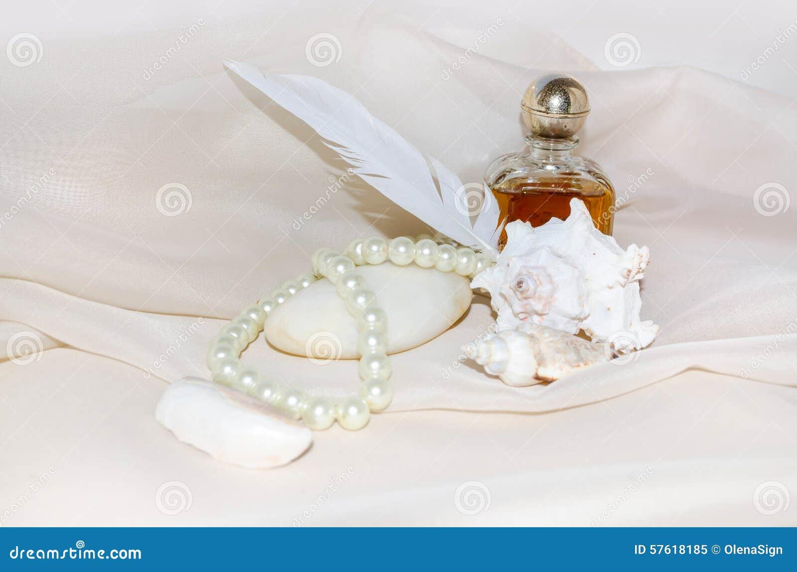 Vintage Perfume Bottle With Pearls, Shellfish, White Sea ...
