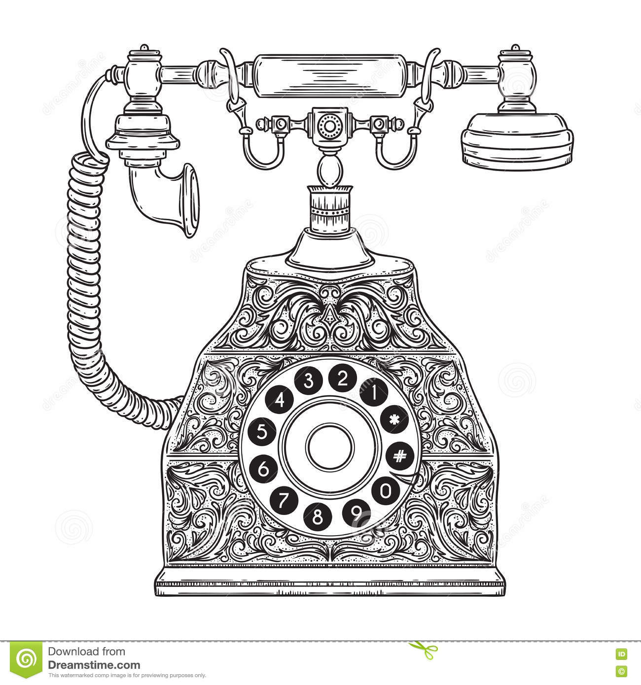 Vintage phone with floral ornament.
