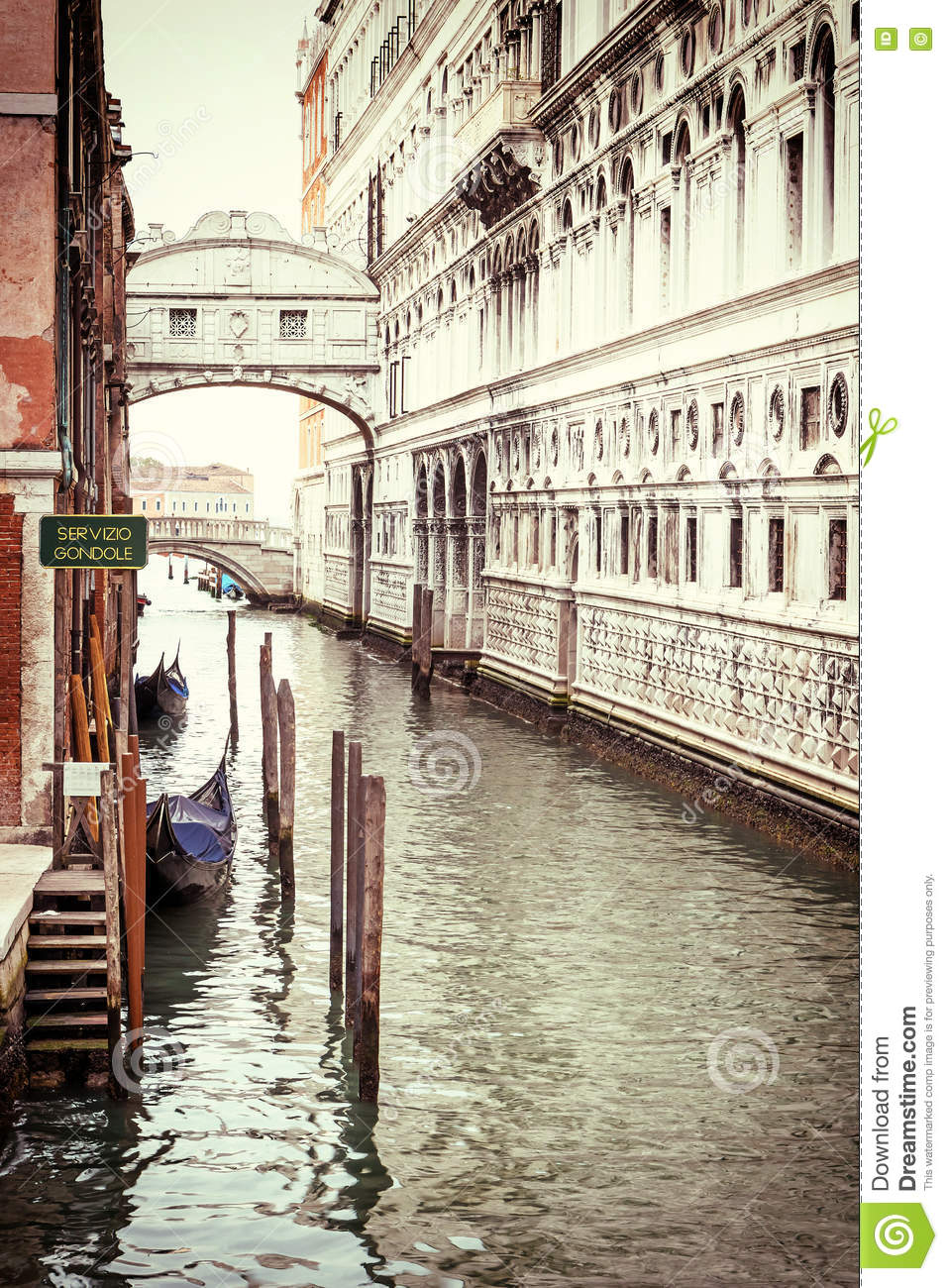 Vintage photo of the Bridge of Sighs in Venice