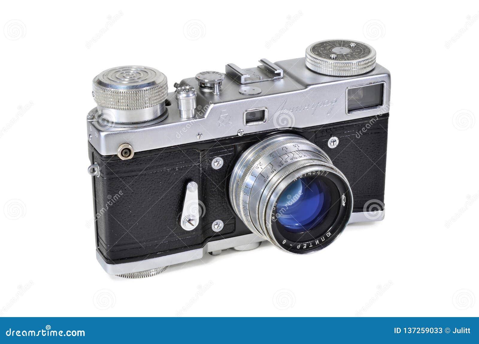 Vintage Photo Camera Leningrad With Jupiter-8 Lens Editorial