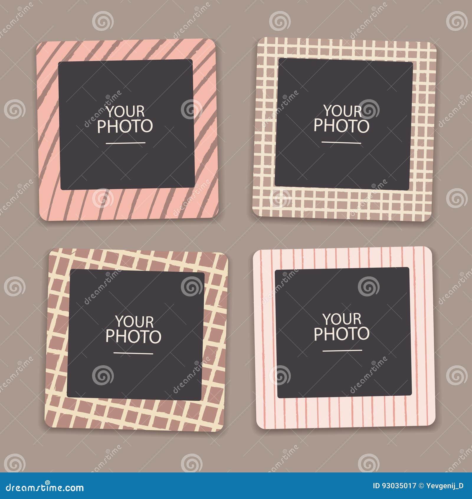 Vintage Photo Frames Collage Scrapbook Retro Design Concept Album
