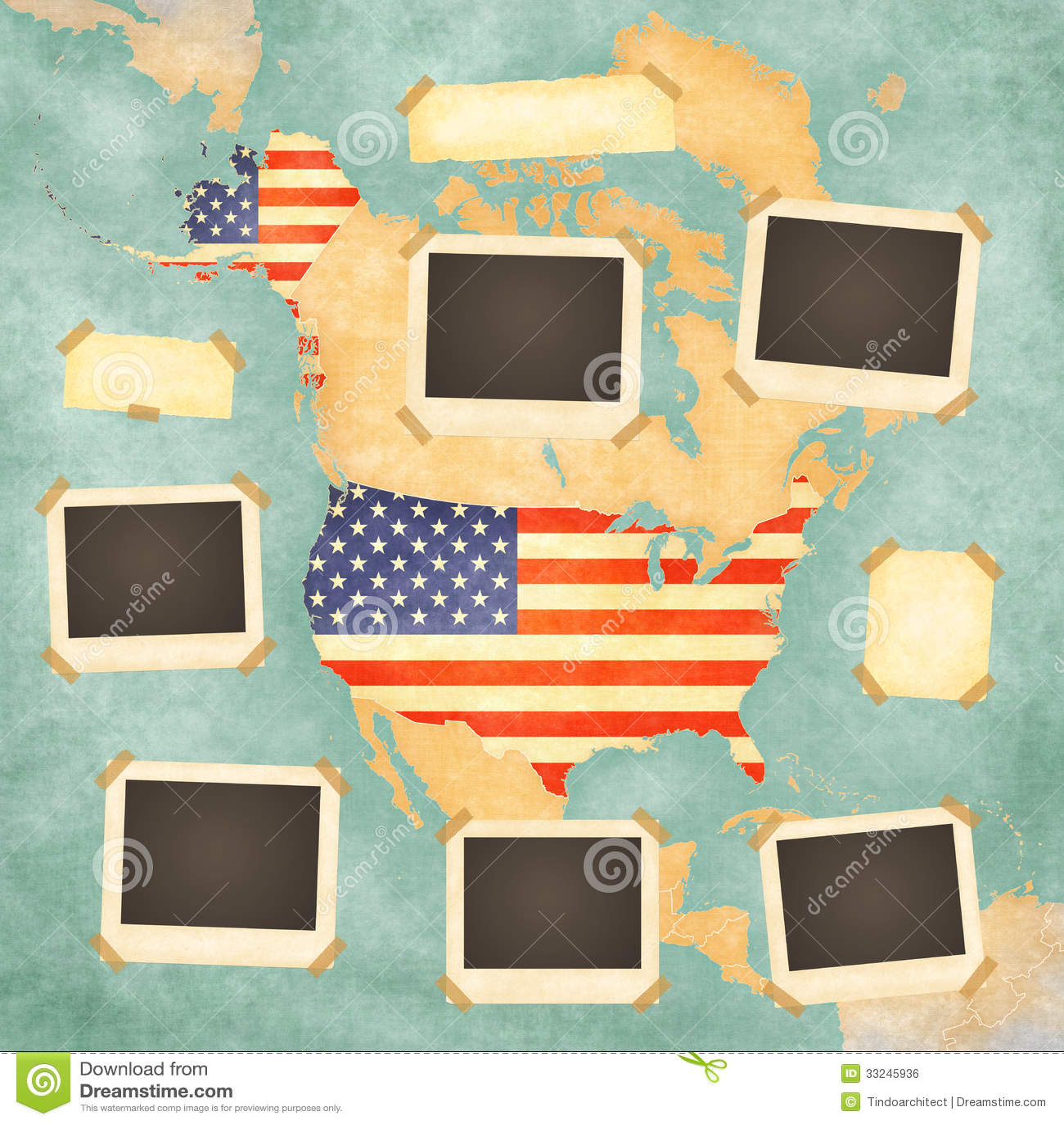 Vintage Photo Frames USA Stock Photo Illustration Of Photos - United states map picture frame