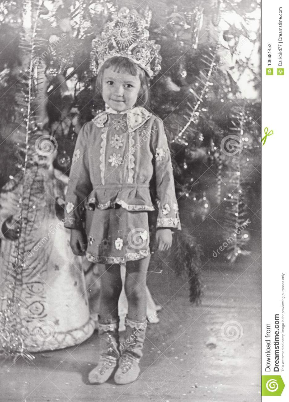 Vintage Photo Of Little Girl. Christmas And New Year Party