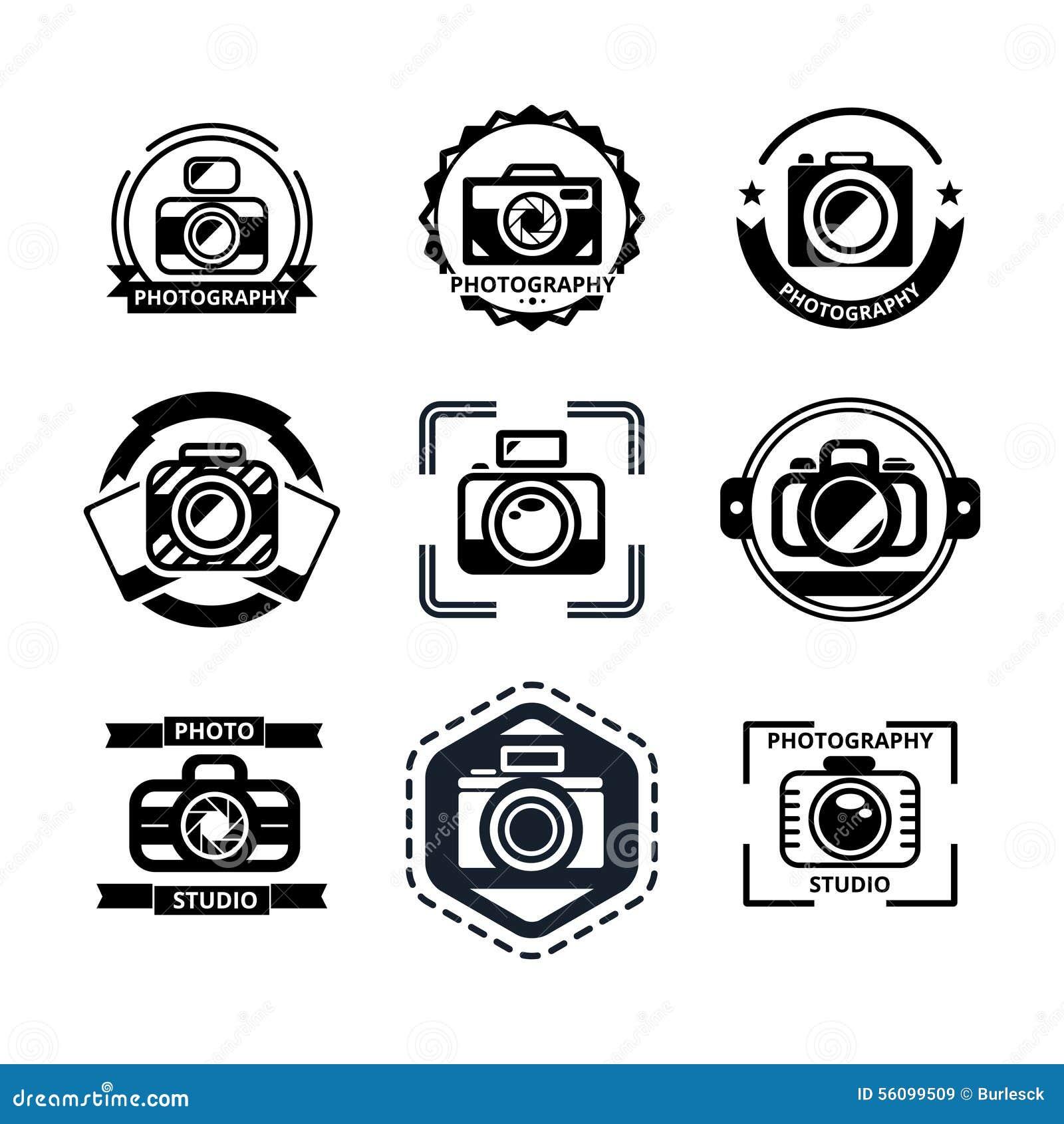Hipster Design Studio Logo Vector: Vintage Photography Badges Or Logos Stock Vector