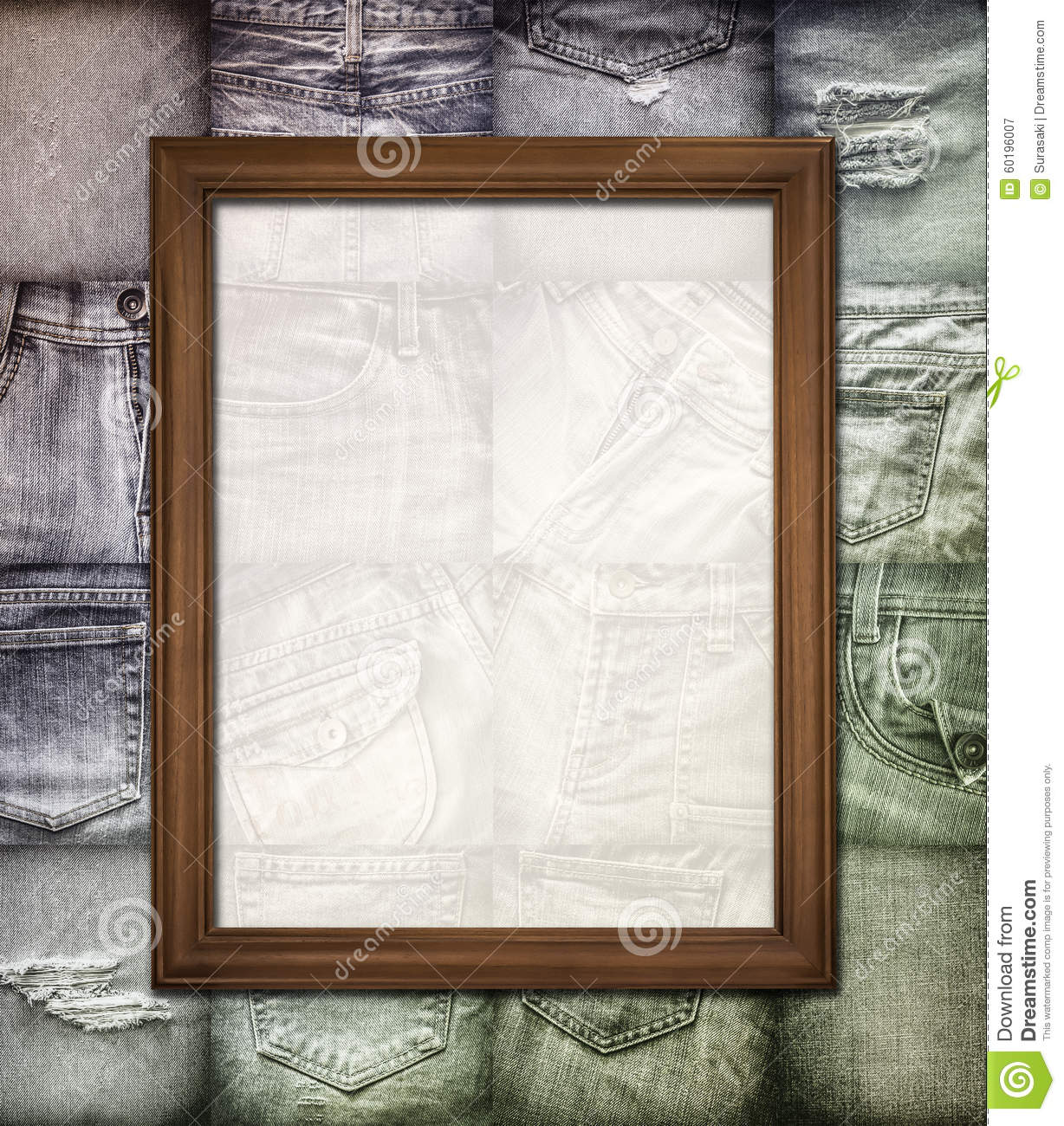 Vintage Picture Frame On Collage Jeans Stock Image - Image of ...