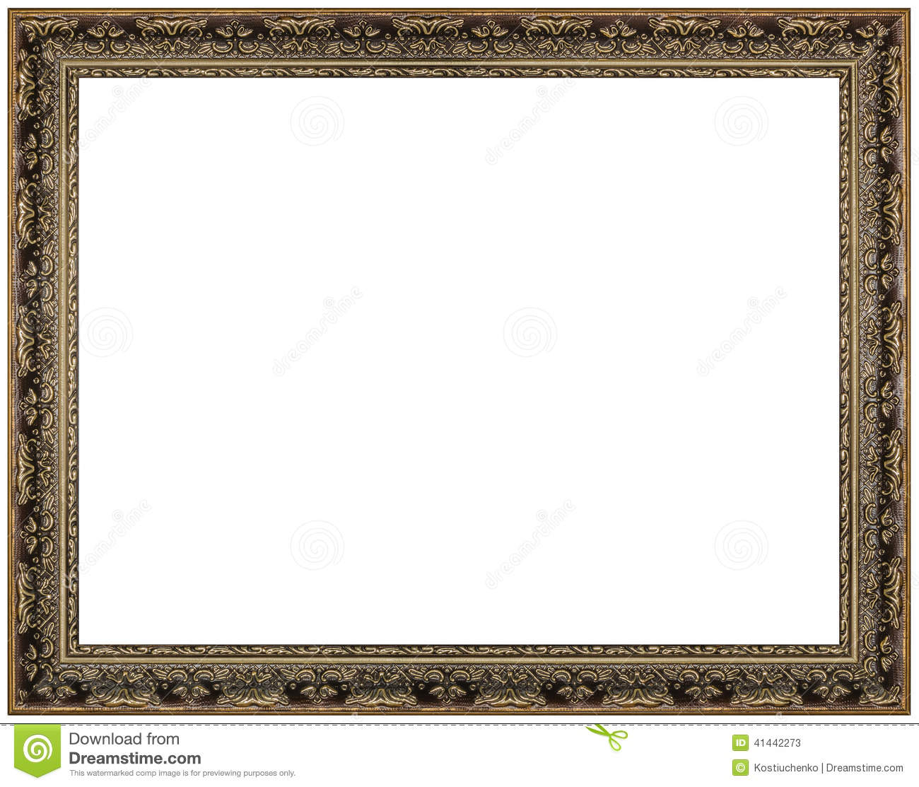 Vintage Picture Frame, White Background Stock Photo ...