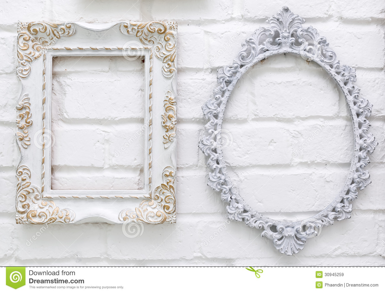 vintage picture frames on white brick wall - White Vintage Picture Frames