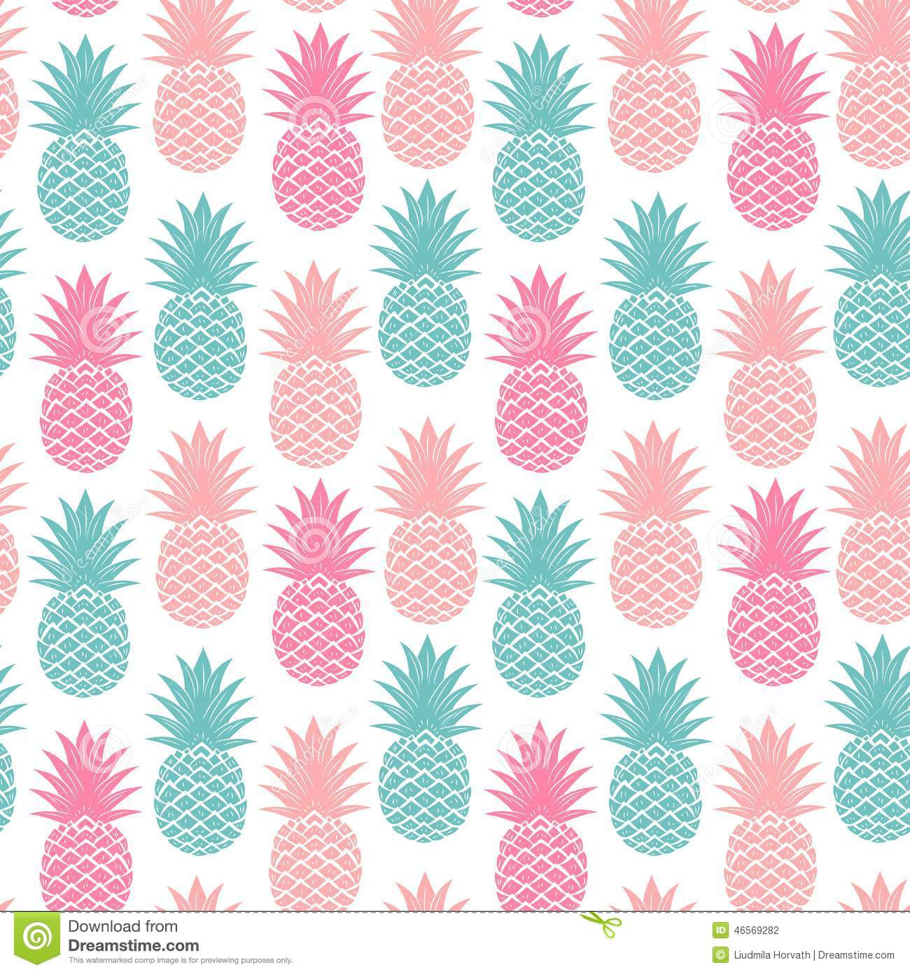 Vintage Pineapple Seamless Stock Vector - Image: 46569282