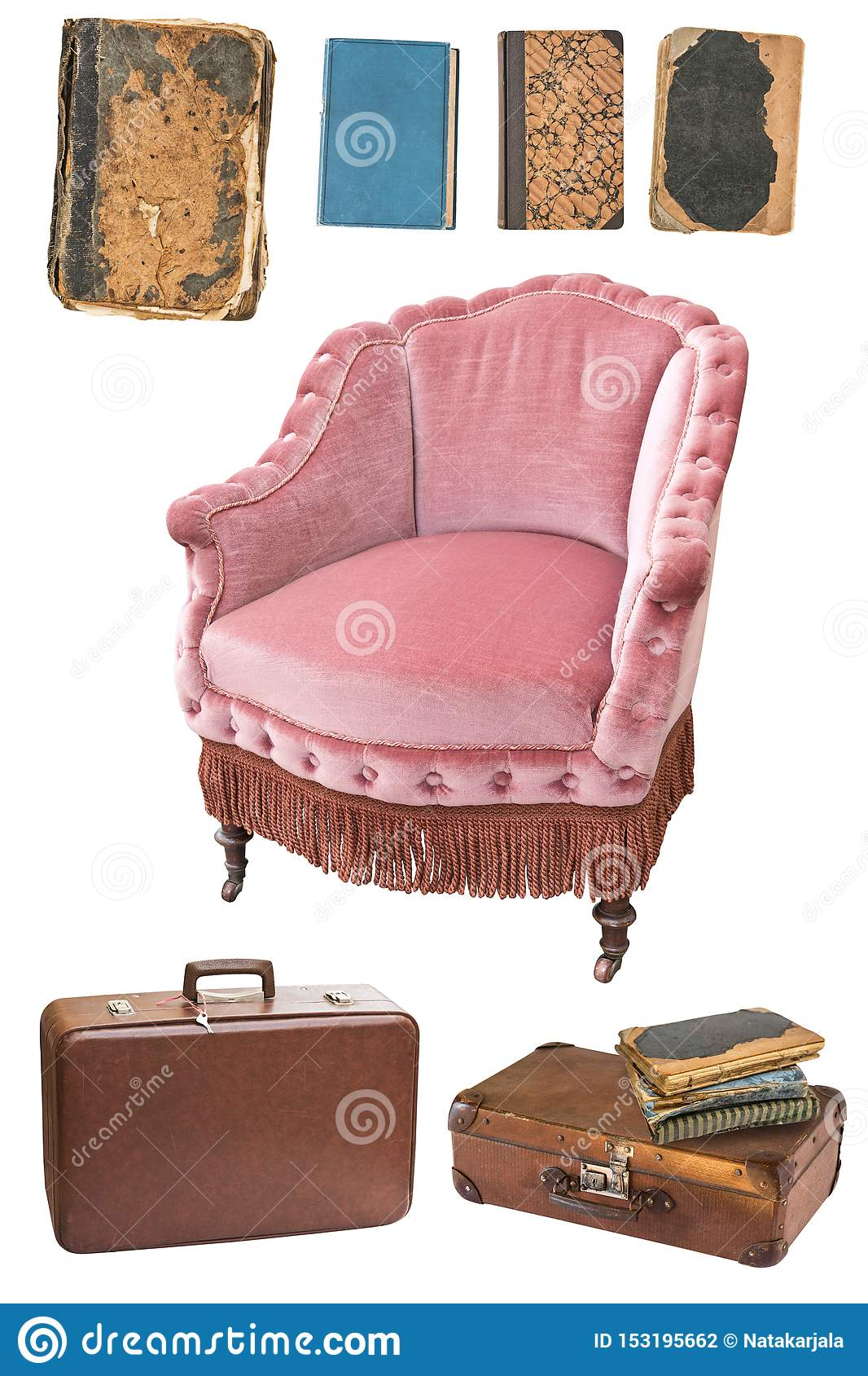 Vintage Pink Armchair, Books, Suitcases Isolated On White ...