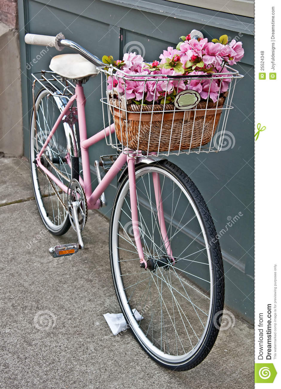 vintage pink bicycle with pink flowers stock photo image of standing front 25524348. Black Bedroom Furniture Sets. Home Design Ideas