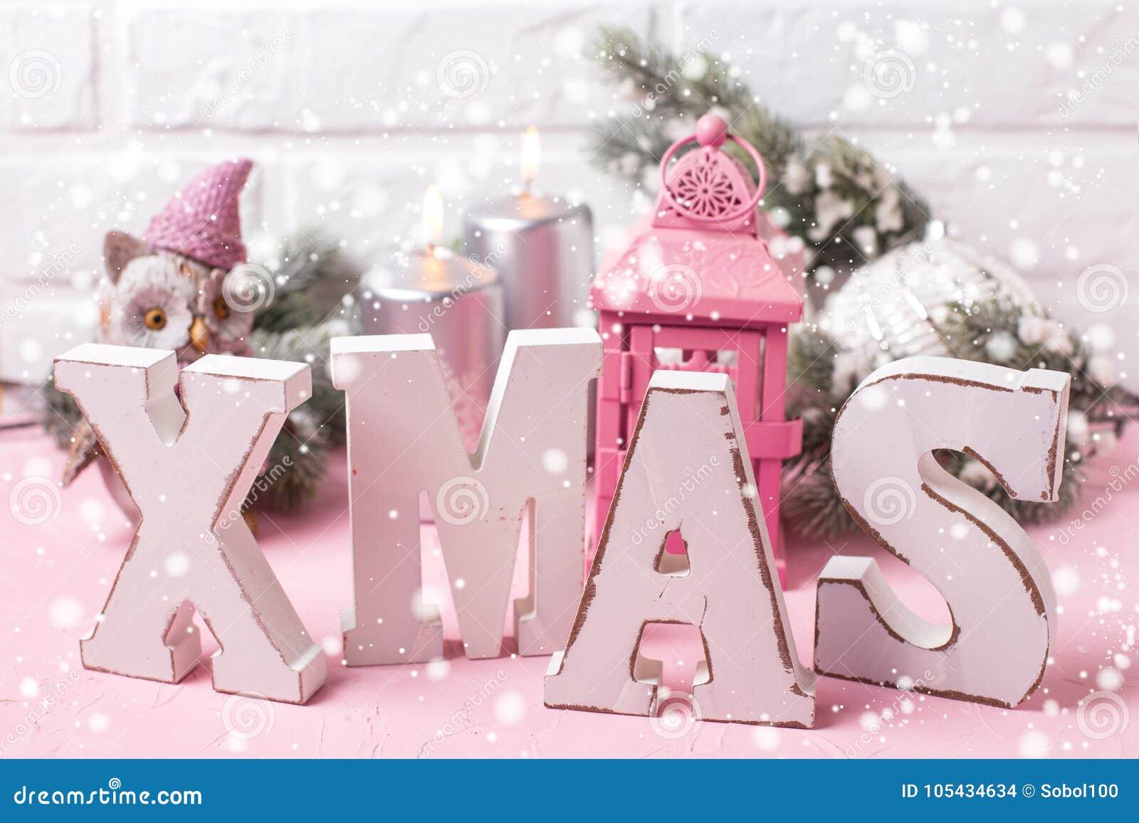 Vintage Pink Christmas. Stock Photo. Image Of Noel, Word