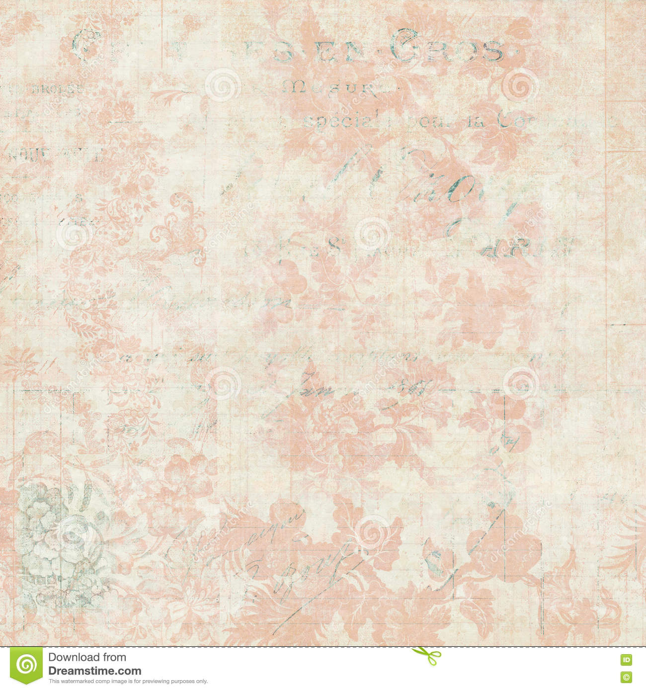 Vintage Pink And Cream Grungy Faded Shabby Chic Abstract Floral