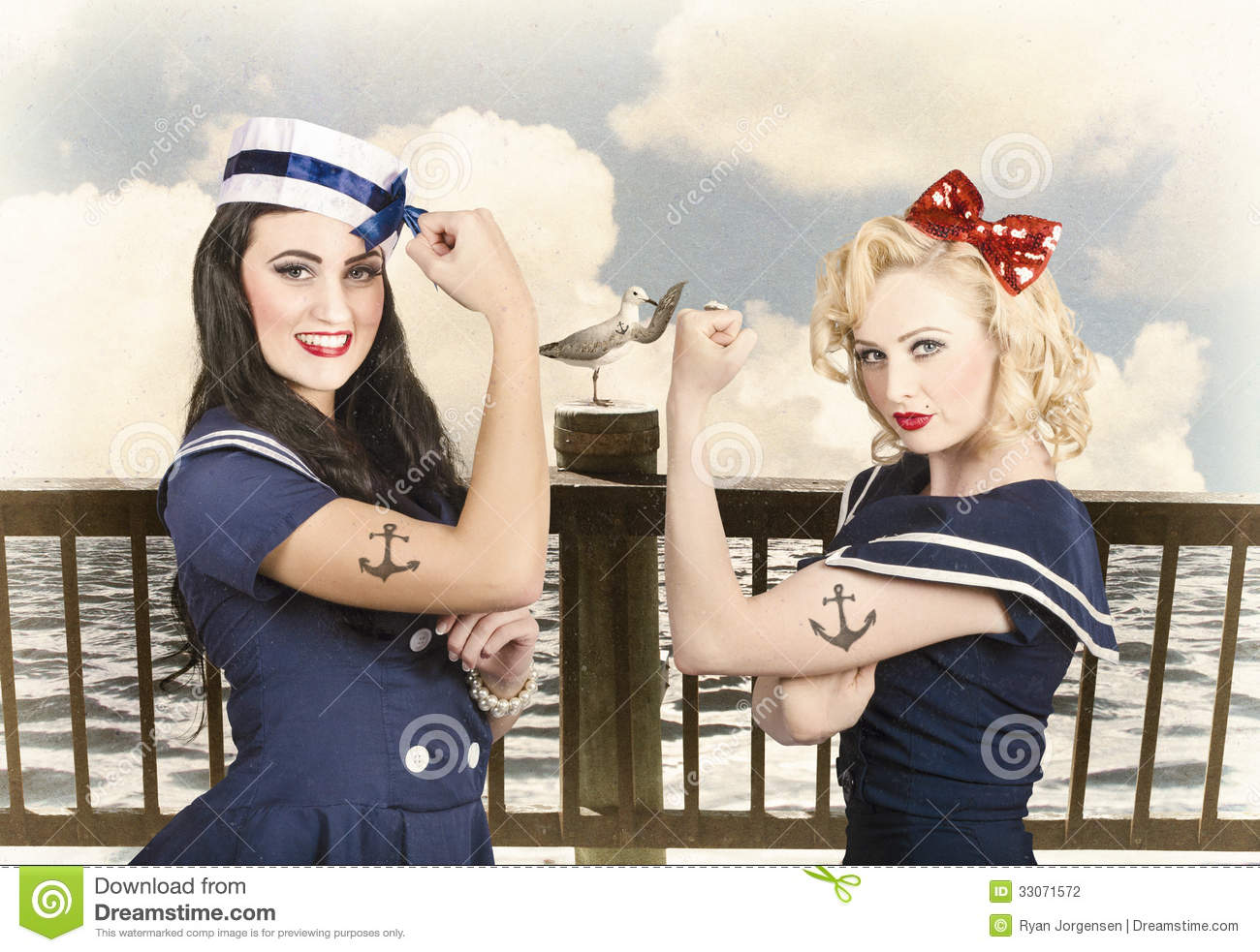 Vintage Pinup Style Two Retro Sailor Pinup Girls Stock Photo