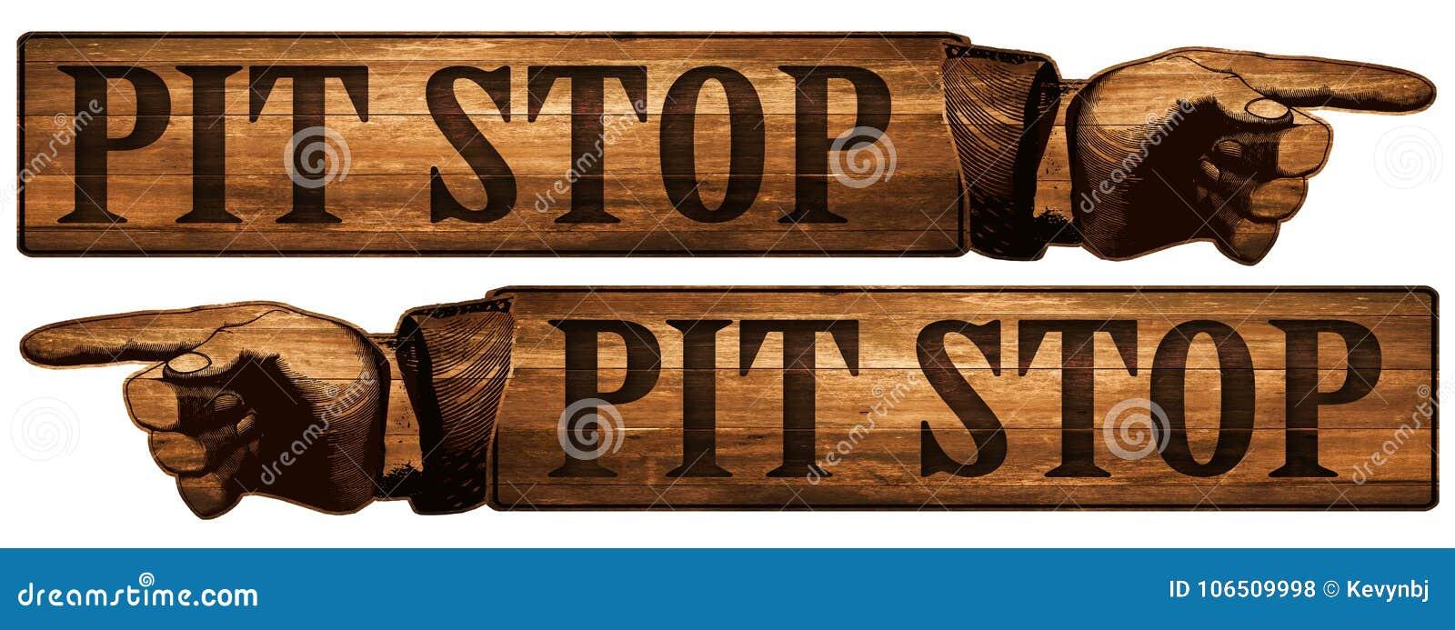 Vintage Pit Stop Sign Pointing Finger