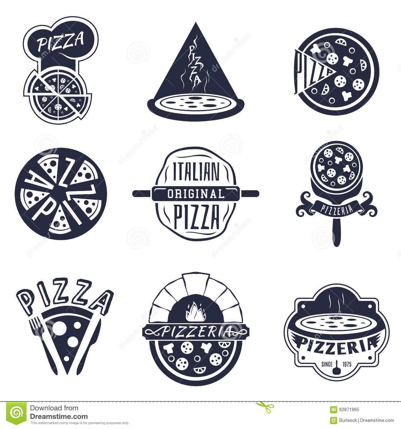 vintage pizzeria labels logos and emblems vector stock