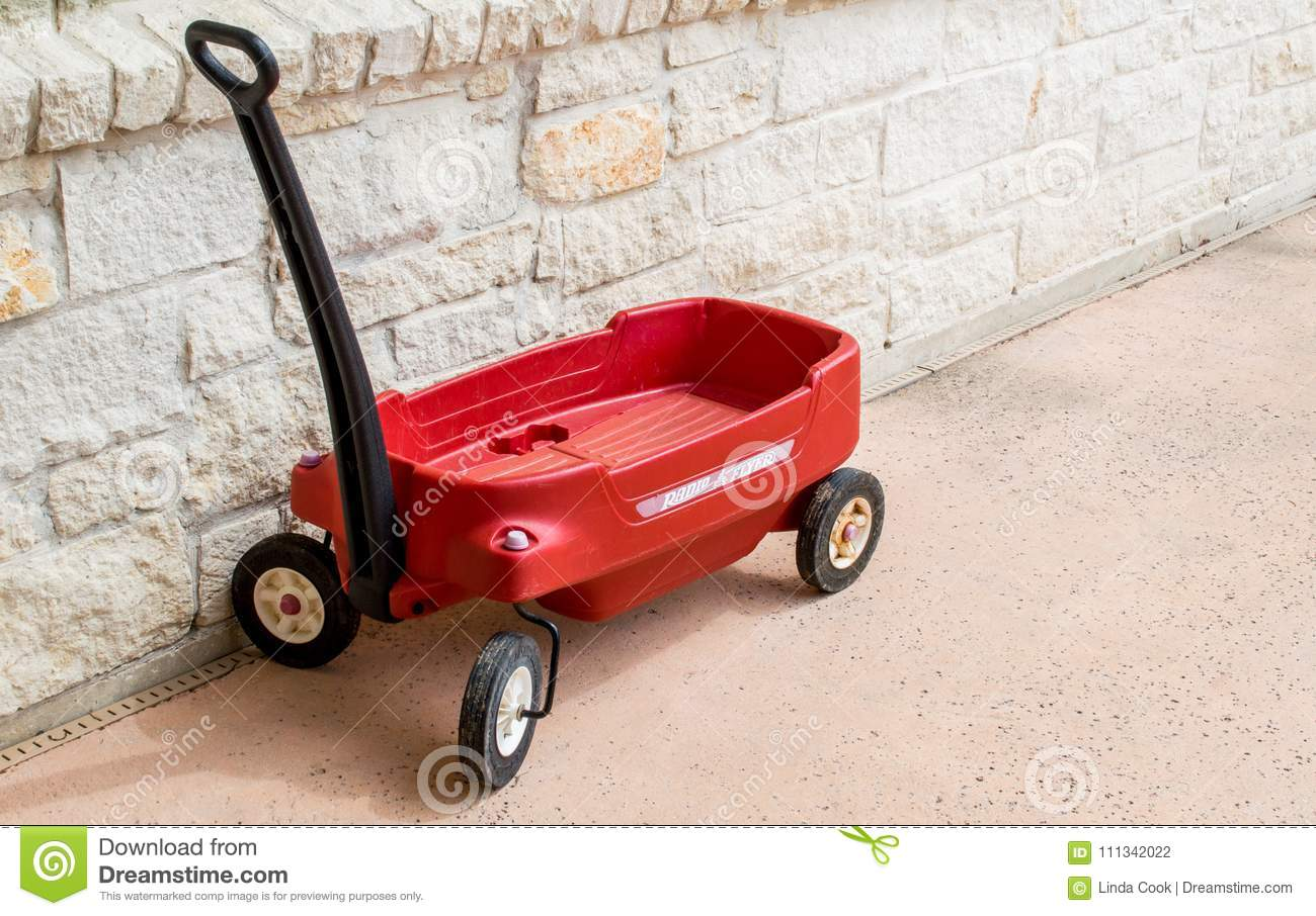 Red Radio Flyer Wagon Against A Stone Wall Editorial Photography Image Of Outside Creativity 111342022