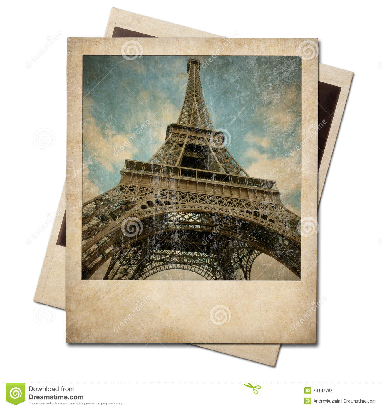 Assez Vintage Polaroid Eiffel Tower Instant Photo Stock Photo - Image  ZB41