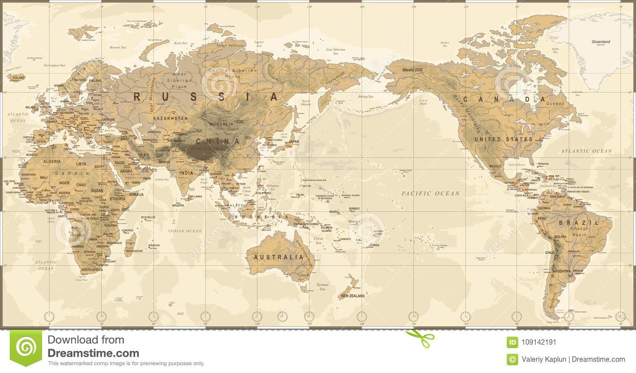 Vintage political physical topographic world map pacific centered download comp gumiabroncs Images