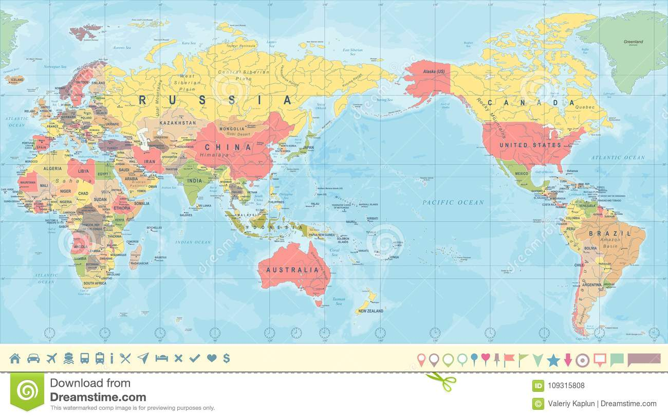 World Map From Australia.Vintage Political World Map Pacific Centered Stock Illustration