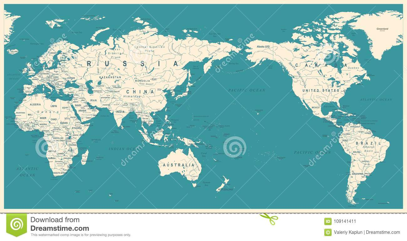 Vintage political world map pacific centered stock illustration download comp gumiabroncs Choice Image