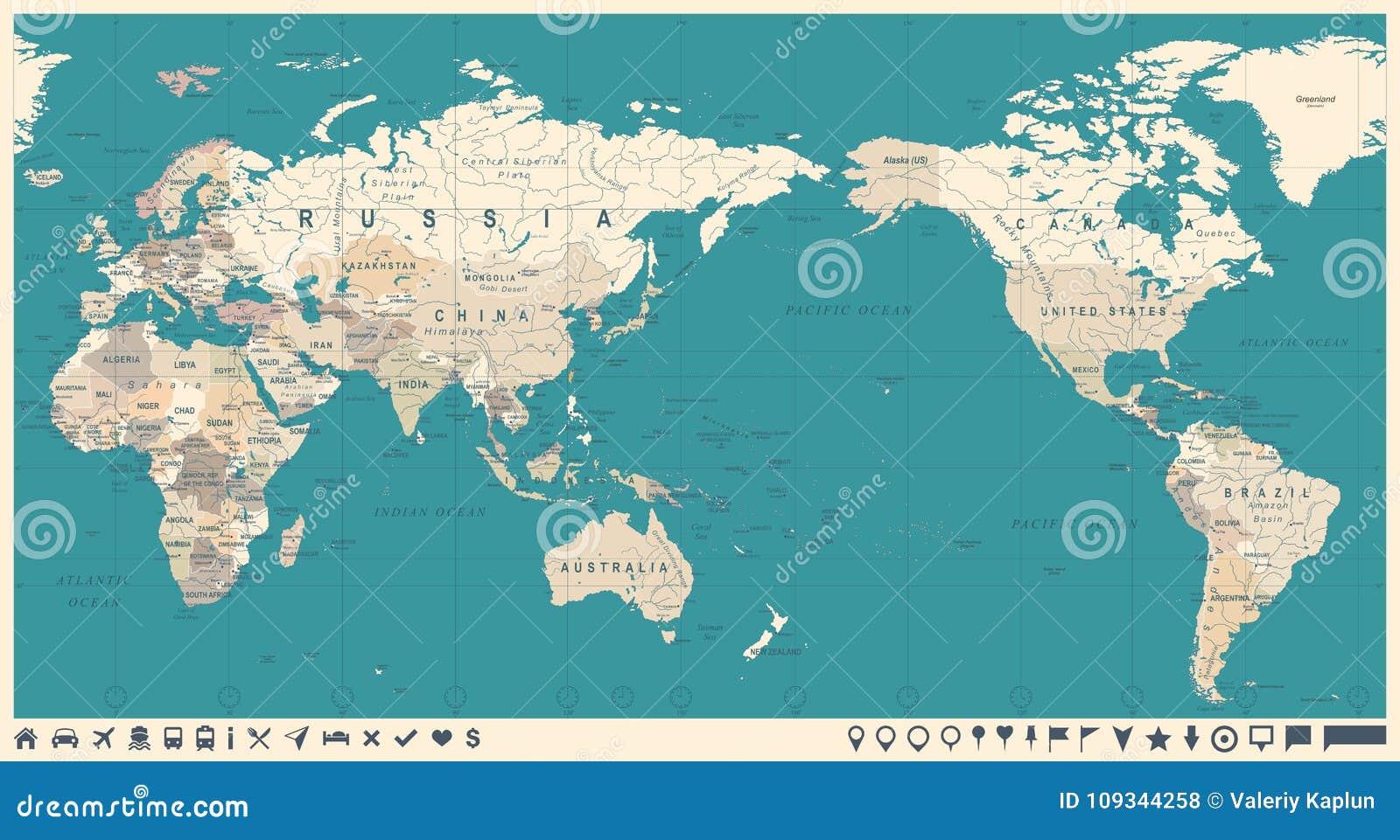 Vintage political world map pacific centered stock illustration download comp gumiabroncs Images