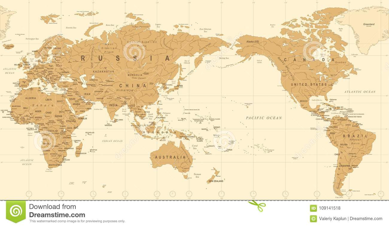 Vintage Political World Map Pacific Centered Stock Illustration ...