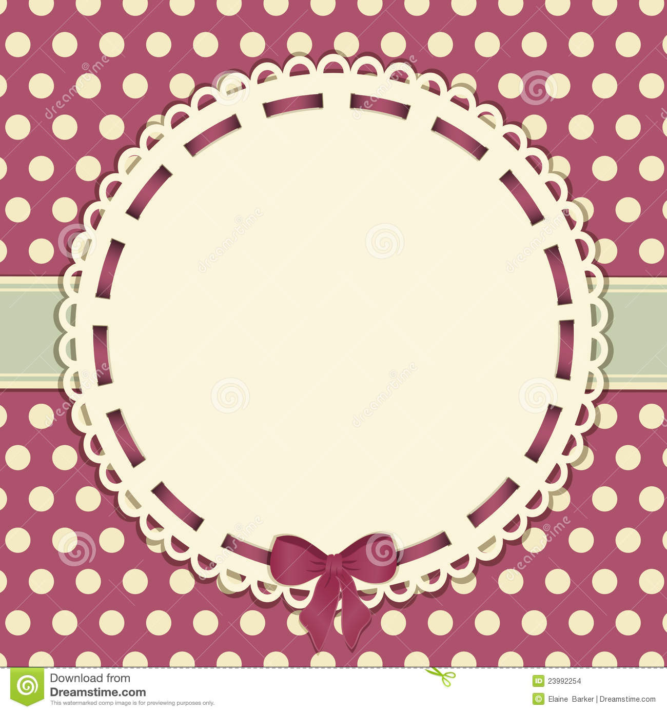 vintage polka dot background with ribbon stock vector