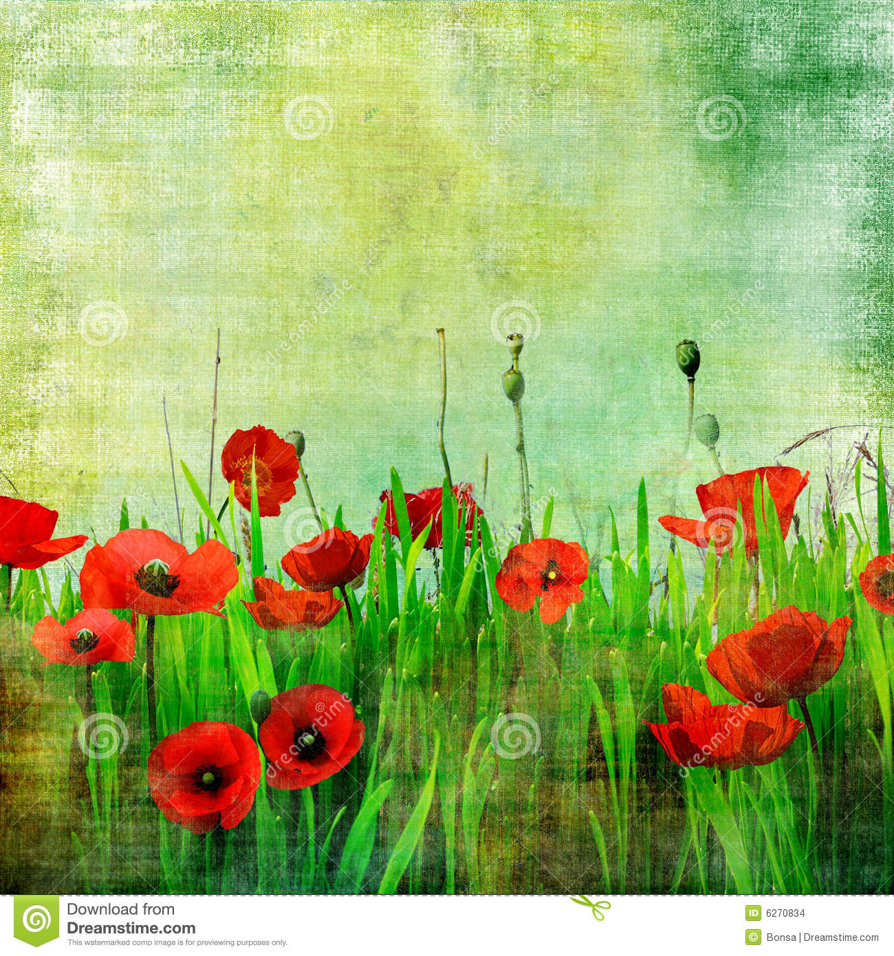 Field Of Red Flowers Painting