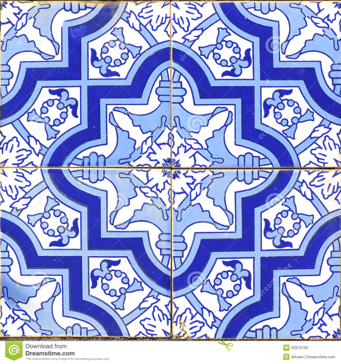 Vintage Portuguese Blue Tiles Stock Image Image Of