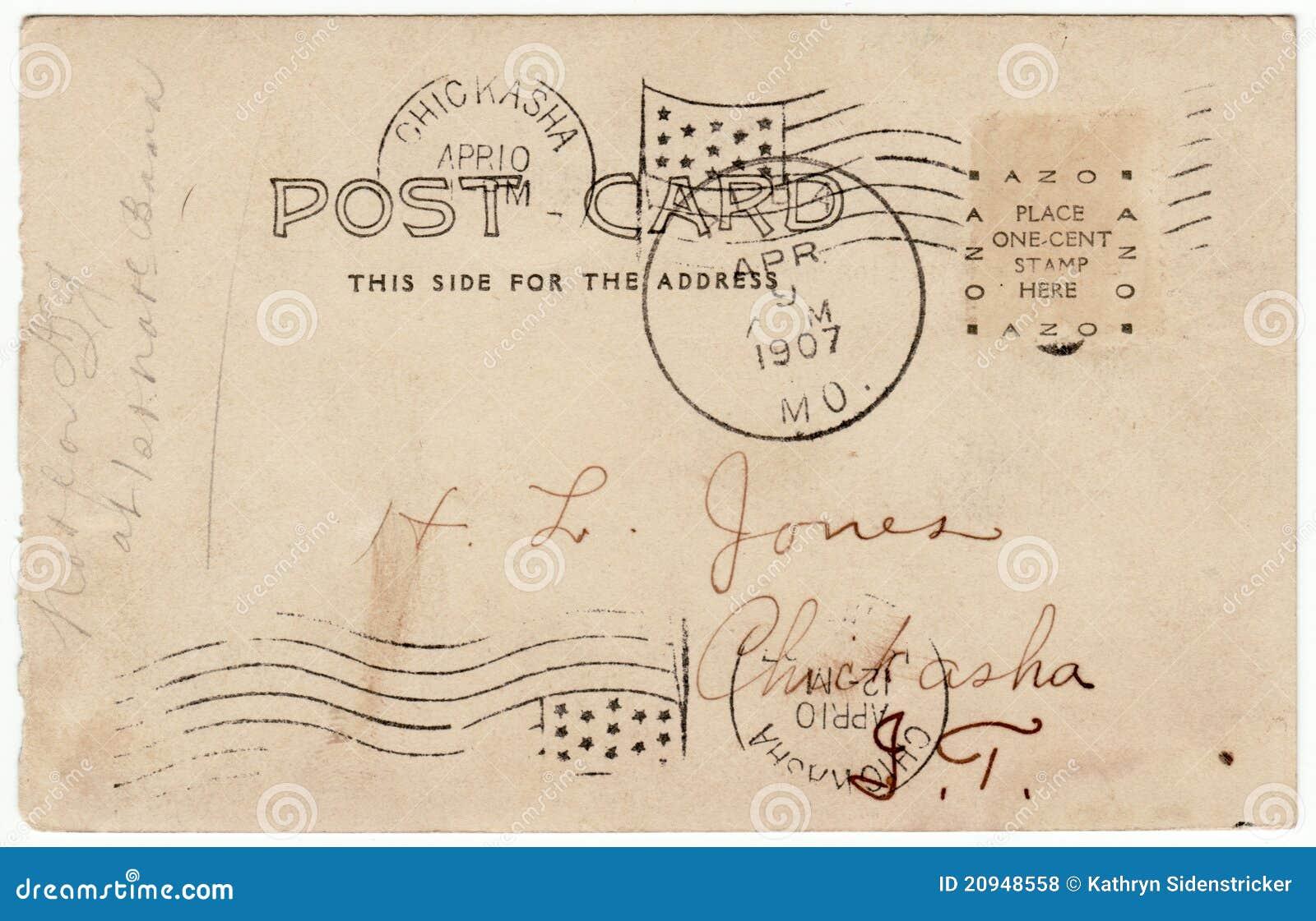 Vintage Post Card Triple Postmark Indian Territory Royalty