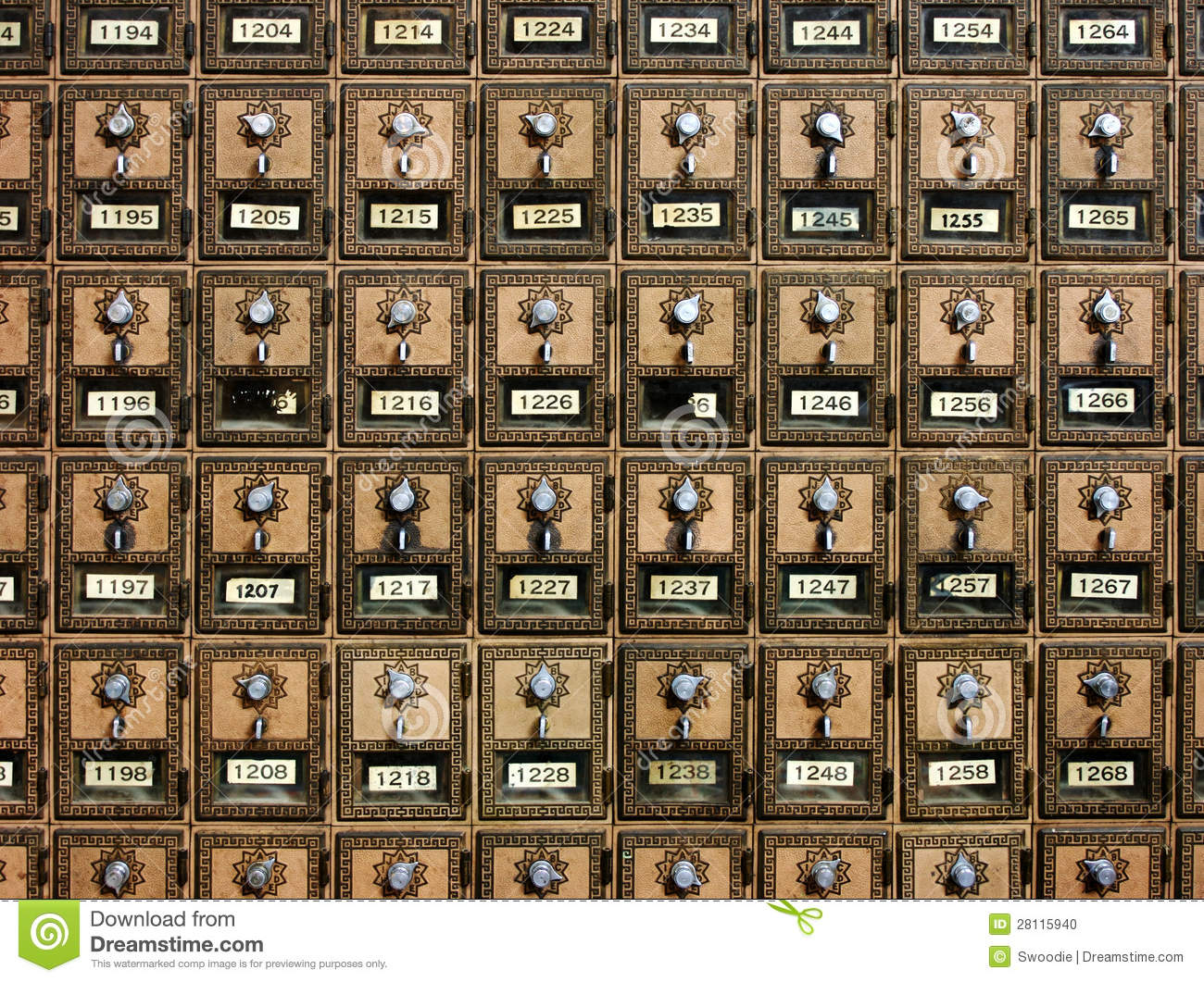 Vintage Post Office Boxes Stock Photo Image Of Postal 28115940
