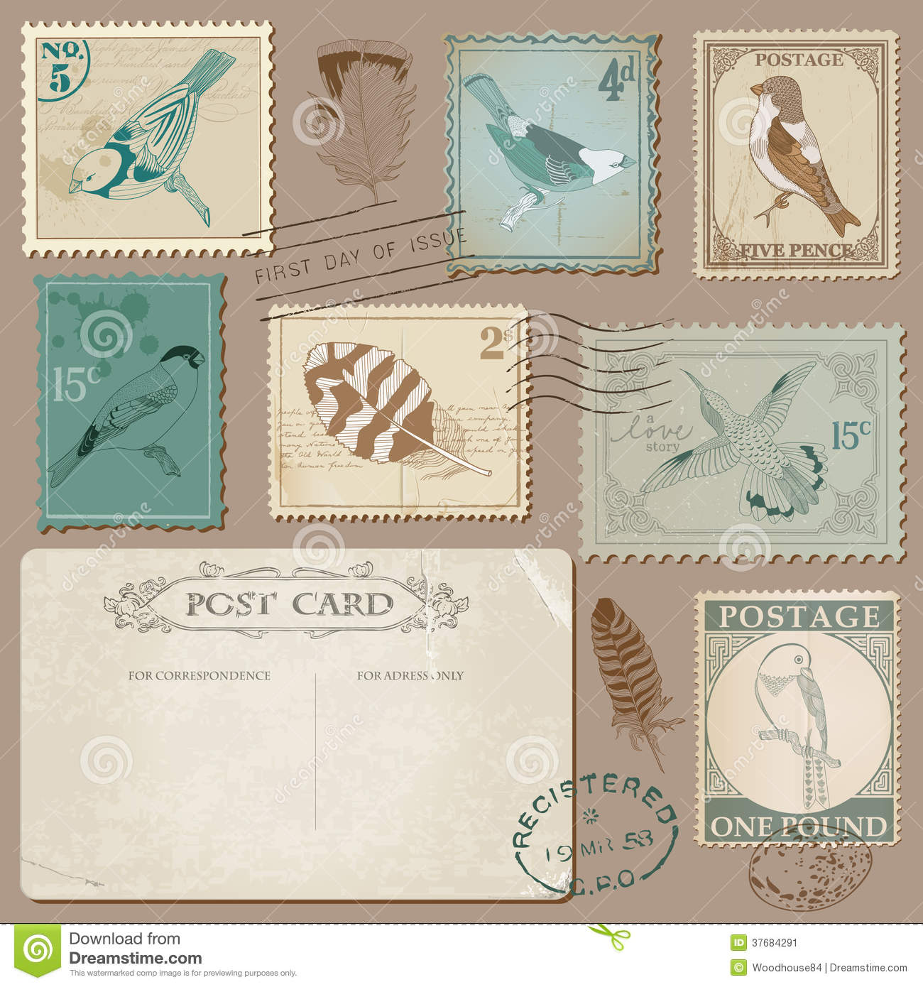 Vintage Postage Stamps With Birds Stock Image - Image ...