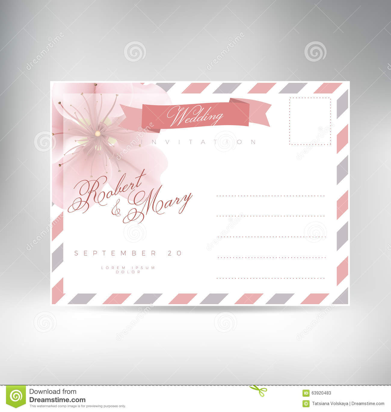 Wedding Invitation Postcard: Vintage Postcard Background Vector Template For Wedding