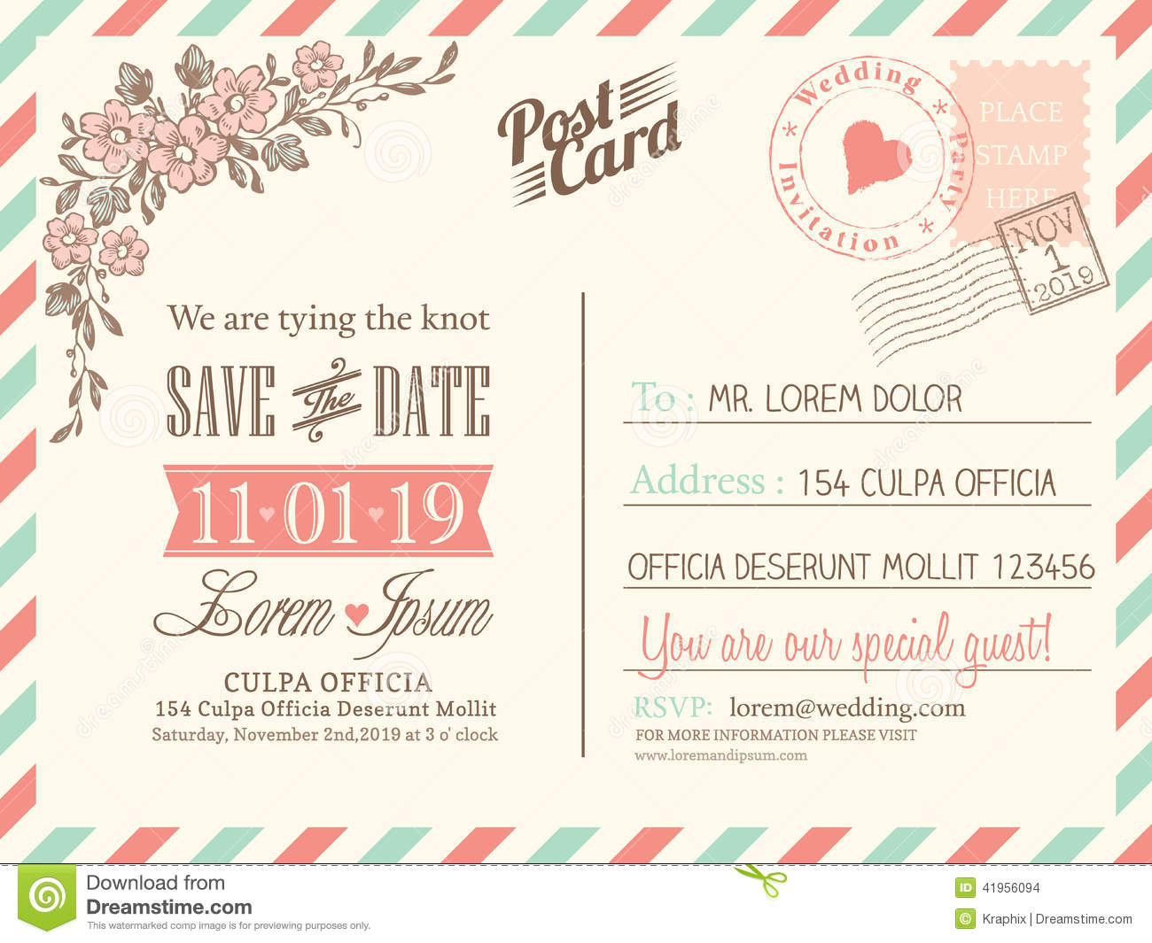 vintage postcard background for wedding invitation stock